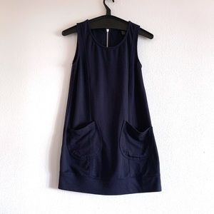 H&M Dark Blue Mini Dress With Pockets